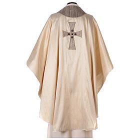Chasuble liturgique croix appliquée et verre 100% soie s8