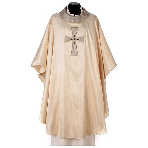 Chasuble liturgique croix appliquée et verre 100% soie 1