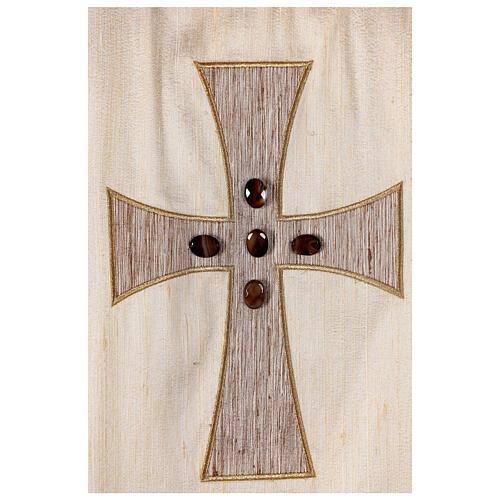 Chasuble liturgique croix appliquée et verre 100% soie 2