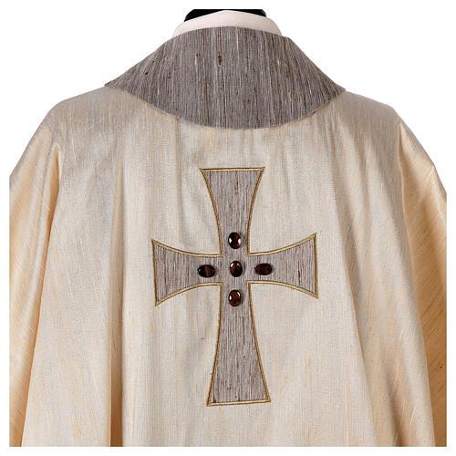 Chasuble liturgique croix appliquée et verre 100% soie 6