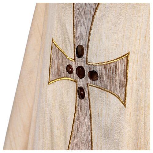 Chasuble liturgique croix appliquée et verre 100% soie 7