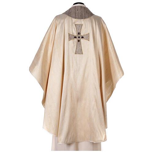 Chasuble liturgique croix appliquée et verre 100% soie 8