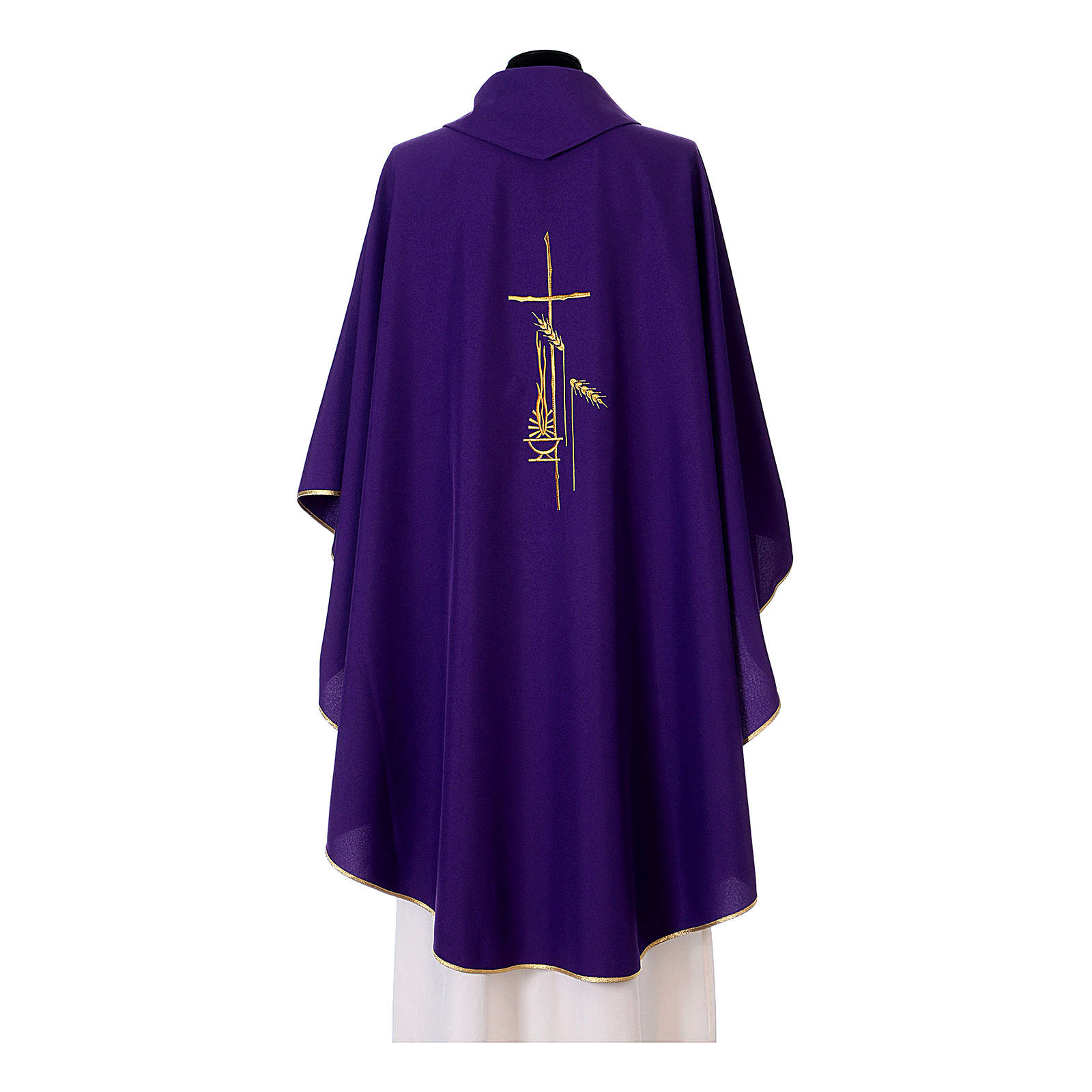 Chasuble in polyester with cross, lantern and wheat symbol 4