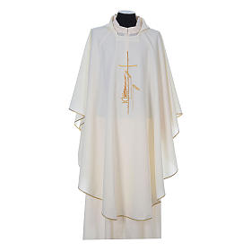 Chasuble in polyester with cross, lantern and wheat symbol s5