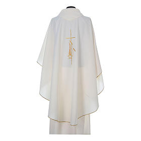 Chasuble in polyester with cross, lantern and wheat symbol s9