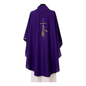 Chasuble in polyester with cross, lantern and wheat symbol s10