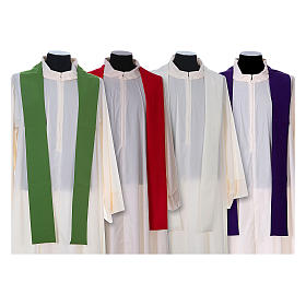 Chasuble in polyester with cross, lantern and wheat symbol s15
