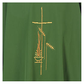 Chasuble in polyester with cross, lantern and wheat symbol s16