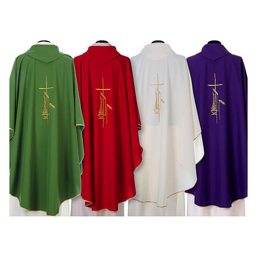 Chasuble in polyester with cross, lantern and wheat symbol 2