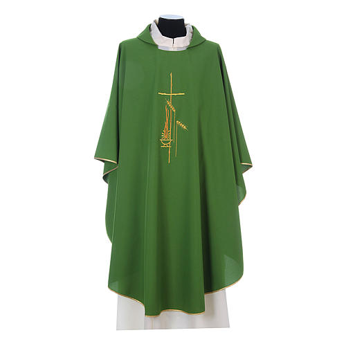 Chasuble in polyester with cross, lantern and wheat symbol 3