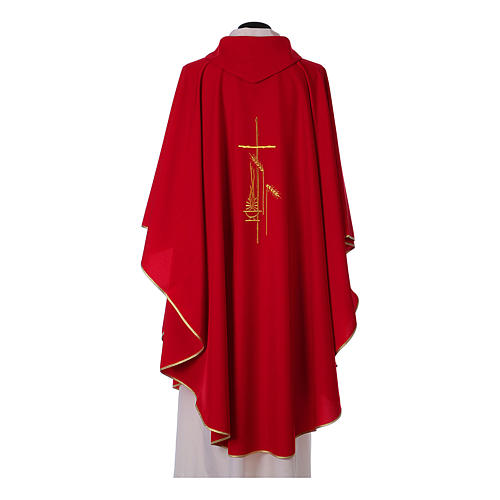 Chasuble in polyester with cross, lantern and wheat symbol 8
