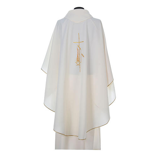 Chasuble in polyester with cross, lantern and wheat symbol 9