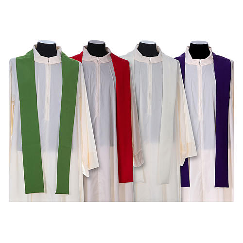 Chasuble in polyester with cross, lantern and wheat symbol 15
