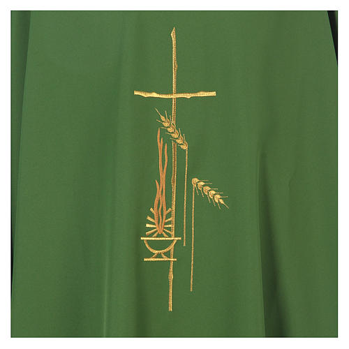 Chasuble in polyester with cross, lantern and wheat symbol 16