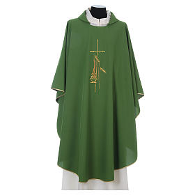 Chasuble in polyester with cross, lantern and wheat symbol s1