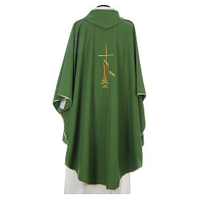Chasuble in polyester with cross, lantern and wheat symbol s3