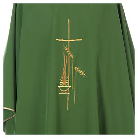 Chasuble in polyester with cross, lantern and wheat symbol s4