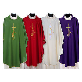 Gothic Chasuble with cross, lantern and wheat symbol in polyester s1