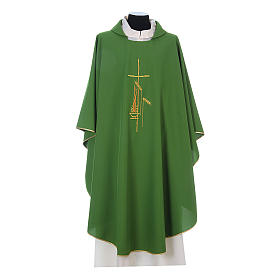Gothic Chasuble with cross, lantern and wheat symbol in polyester s3