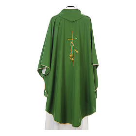 Gothic Chasuble with cross, lantern and wheat symbol in polyester s7