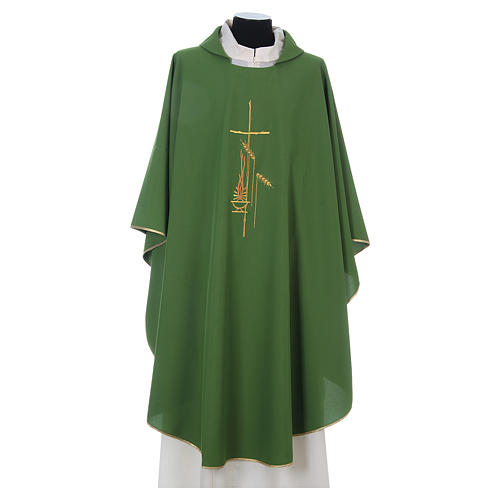Chasuble in polyester with cross, lantern and wheat symbol 1