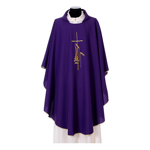 Gothic Chasuble with cross, lantern and wheat symbol in polyester 6