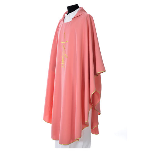 Pink Chasuble in polyester with cross, lantern and wheat symbol 2