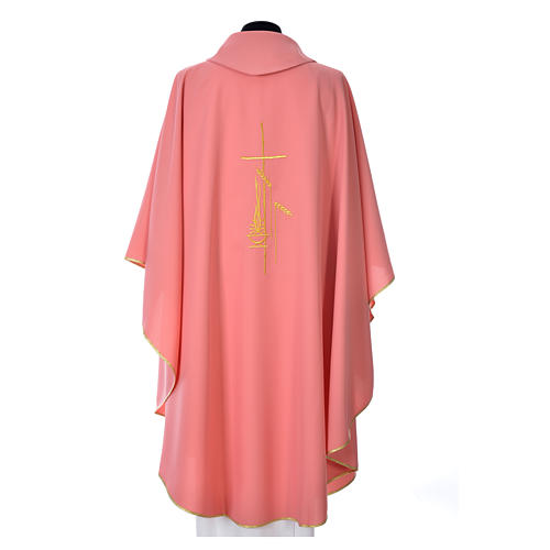 Pink Chasuble in polyester with cross, lantern and wheat symbol 3