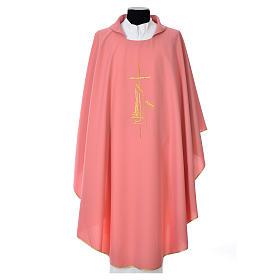 Casullas: Casulla rosada poliéster cruz delicada espigas