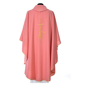 Casulla rosada poliéster cruz delicada espigas s3
