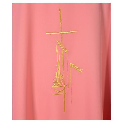 Chasuble lampe à huile croix et épis en polyester rose 4