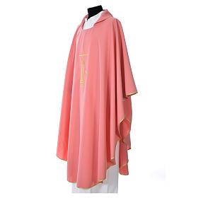 Ornat różowy cienki krzyż kłosy lampka 100% poliester s2