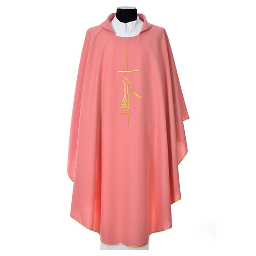 Pink Chasuble in polyester with cross, lantern and wheat symbol 1