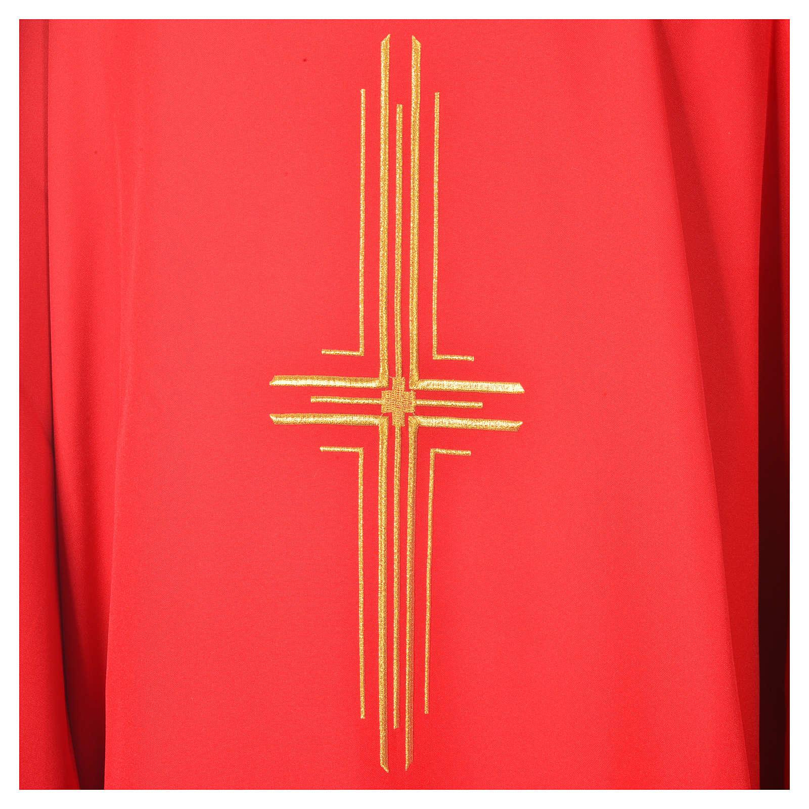 Chasuble liturgique croix dorée 100% polyester 4