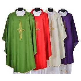 Chasuble liturgique croix dorée 100% polyester s1