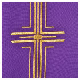 Chasuble liturgique croix dorée 100% polyester s6