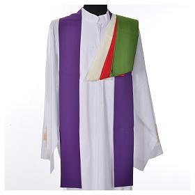Chasuble liturgique croix dorée 100% polyester s7