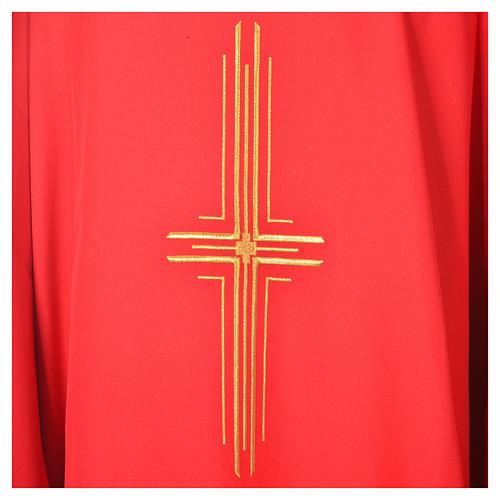 Chasuble liturgique croix dorée 100% polyester 2