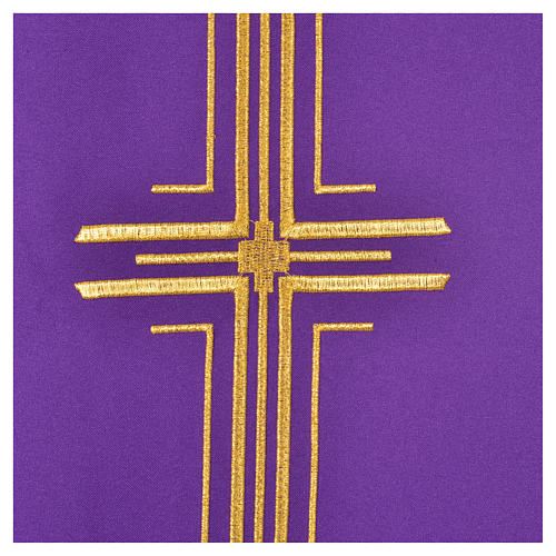 Chasuble liturgique croix dorée 100% polyester 6
