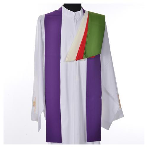 Chasuble liturgique croix dorée 100% polyester 7