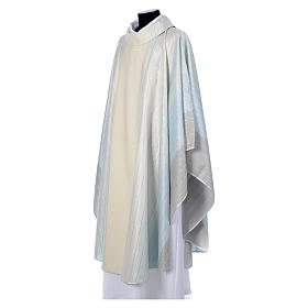 Blue Chasuble in pure Tasmanian wool with double twisted yarn s2