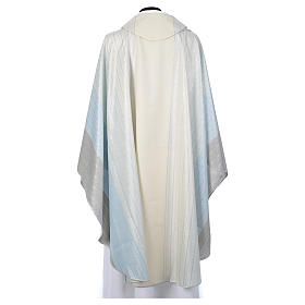 Blue Chasuble in pure Tasmanian wool with double twisted yarn s3