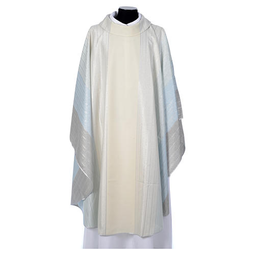 Blue Chasuble in pure Tasmanian wool with double twisted yarn 1