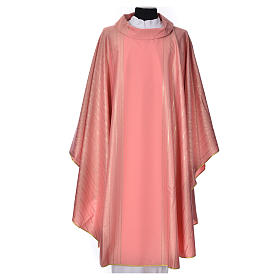 Pink Chasuble in pure Tasmanian wool with double twisted yarn s1