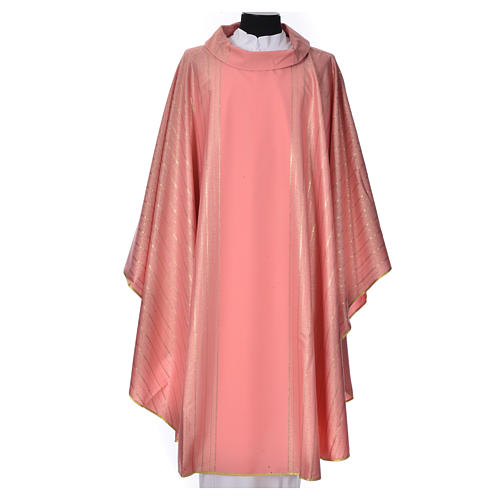 Pink Chasuble in pure Tasmanian wool with double twisted yarn 1