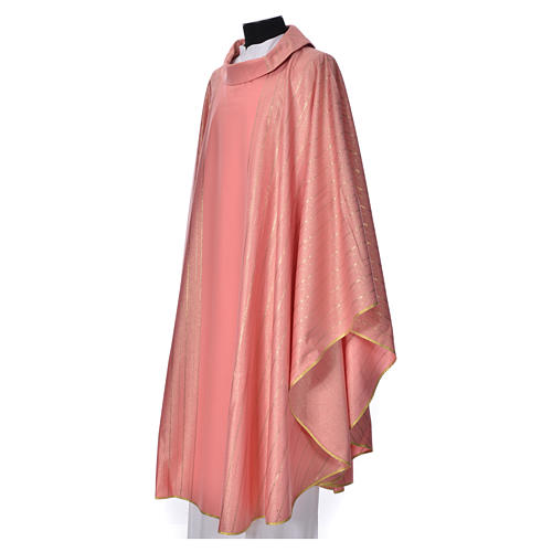 Pink Chasuble in pure Tasmanian wool with double twisted yarn 2