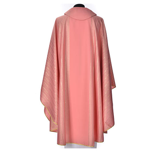 Pink Chasuble in pure Tasmanian wool with double twisted yarn 3