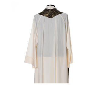 Black Chasuble in pure Tasmanian wool with double twisted yarn s5