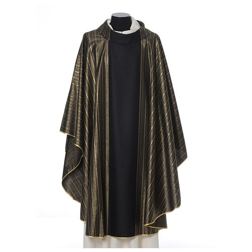 Black Chasuble in pure Tasmanian wool with double twisted yarn 1