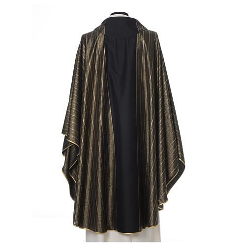 Black Chasuble in pure Tasmanian wool with double twisted yarn 3